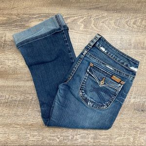 Silver Jeans Dark Wash Pioneer Capris